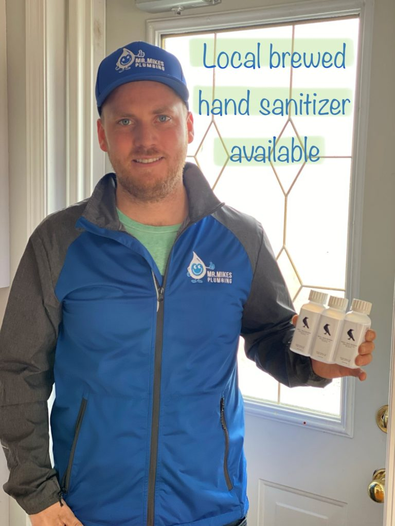 Mr. Mike's Plumbing in Calgary helping people in calgary find hand sanitizer.